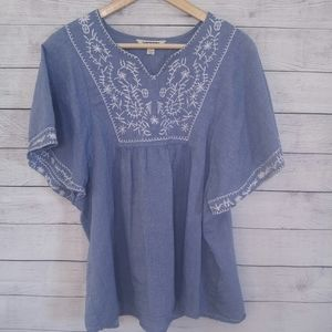 Short Sleeve Embroidered Denim Blue and White Top